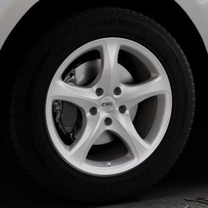 CMS C12 Silver Felge mit Reifen silber in 18Zoll Winterfelge Alufelge auf silbernem Jaguar F-Pace Typ DC ⬇️ mit 15mm Tieferlegung ⬇️ Industriehalle 1 Thumbnail