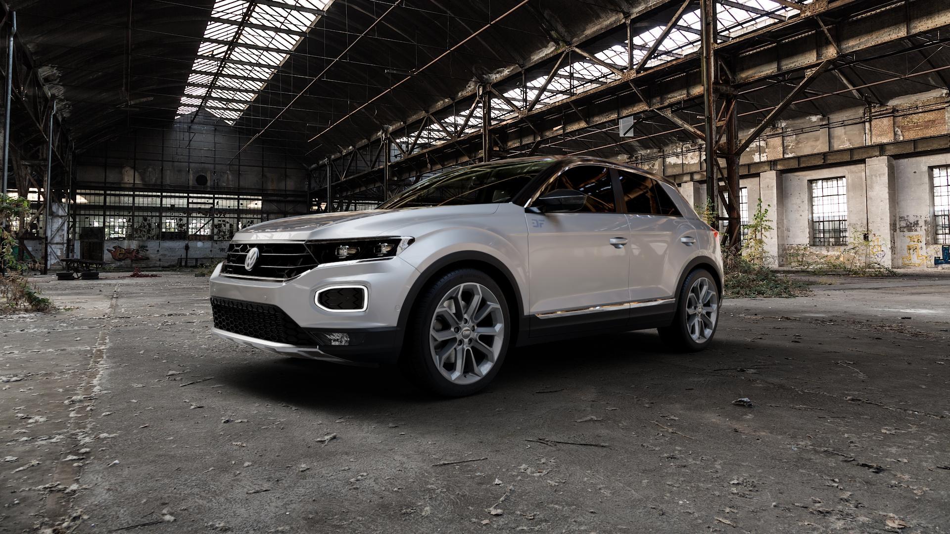 CMS C20 Titan Gloss Felge mit Reifen grau mehrfarbig in 18Zoll Winterfelge Alufelge auf silbernem Volkswagen (VW) T-Roc ⬇️ mit 15mm Tieferlegung ⬇️ Industriehalle 1 Camera_000