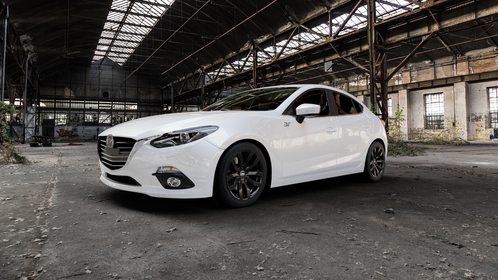 CMS C22 Complete Black Gloss Felge mit Reifen in 17Zoll Winterfelge Alufelge auf weissem Mazda 3 (13-) Stufenheck (BM) Sport (17-) Facelift Fließheck ⬇️ mit 15mm Tieferlegung ⬇️ Industriehalle 1 Camera_000