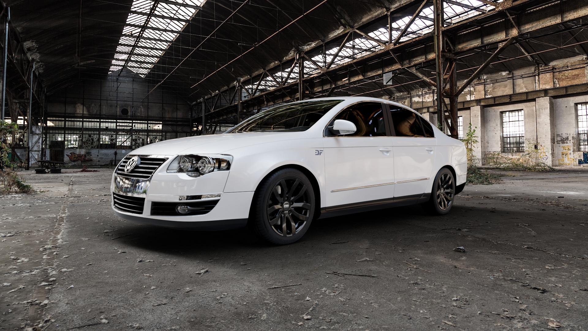 CMS C22 Complete Black Gloss Felge mit Reifen in 17Zoll Winterfelge Alufelge auf weissem Volkswagen (VW) Passat 3C/B6 Limousine ⬇️ mit 15mm Tieferlegung ⬇️ Industriehalle 1 Camera_000