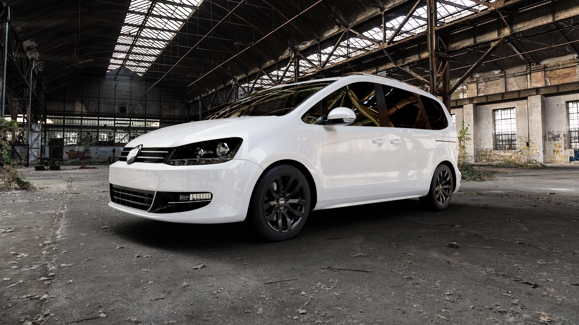 CMS C22 Complete Black Gloss Felge mit Reifen in 17Zoll Winterfelge Alufelge auf weissem Volkswagen (VW) Sharan II Typ 7N ⬇️ mit 15mm Tieferlegung ⬇️ Industriehalle 1 Camera_000