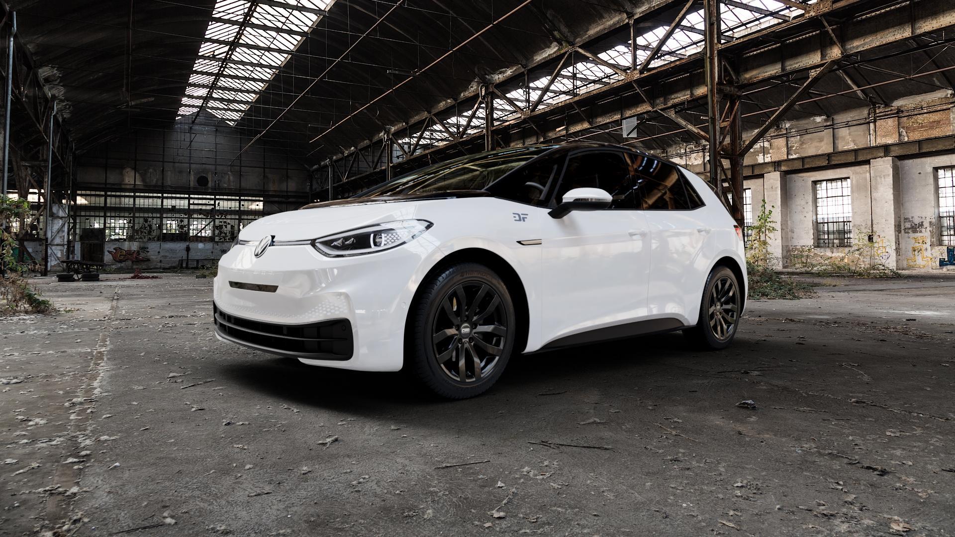 CMS C22 Complete Black Gloss Felge mit Reifen in 18Zoll Winterfelge Alufelge auf weissem Volkswagen (VW) ID.3 ⬇️ mit 15mm Tieferlegung ⬇️ Industriehalle 1 Camera_000