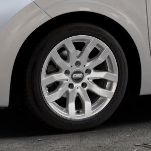 CMS C22 Racing Silver Felge mit Reifen silber in 15Zoll Winterfelge Alufelge auf silbernem Kia Picanto III Typ JA ⬇️ mit 15mm Tieferlegung ⬇️ Industriehalle 1 Thumbnail