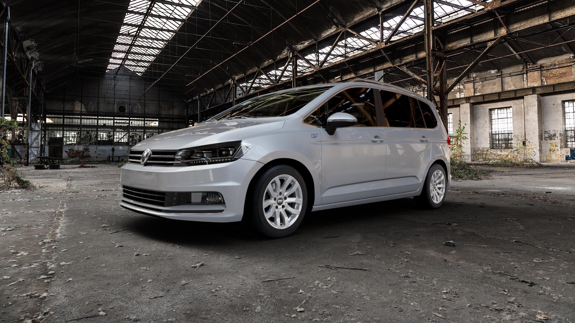CMS C22 Racing Silver Felge mit Reifen silber in 16Zoll Winterfelge Alufelge auf silbernem Volkswagen (VW) Touran III Typ 1T (15->) ⬇️ mit 15mm Tieferlegung ⬇️ Industriehalle 1 Camera_000