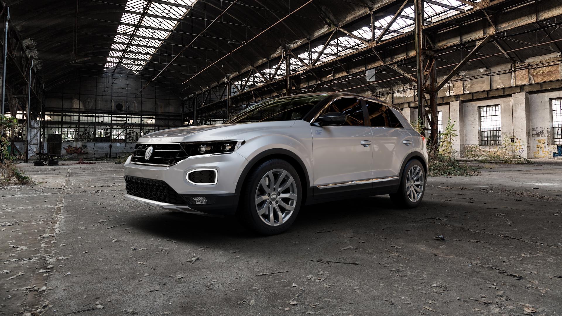 CMS C22 Titan Gloss Felge mit Reifen grau in 17Zoll Winterfelge Alufelge auf silbernem Volkswagen (VW) T-Roc ⬇️ mit 15mm Tieferlegung ⬇️ Industriehalle 1 Camera_000