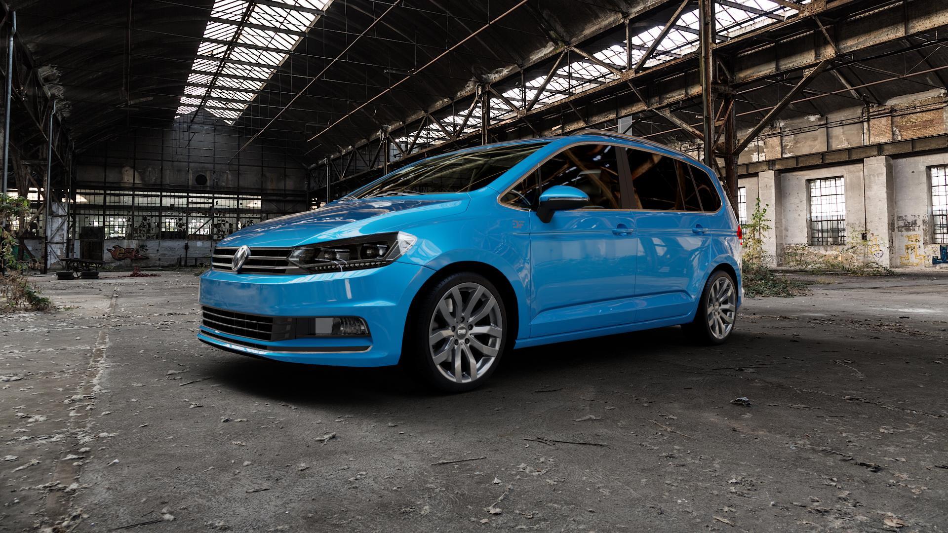 CMS C22 Titan Gloss Felge mit Reifen grau in 18Zoll Winterfelge Alufelge auf hellblau Volkswagen (VW) Touran III Typ 1T (15->) ⬇️ mit 15mm Tieferlegung ⬇️ Industriehalle 1 Camera_000