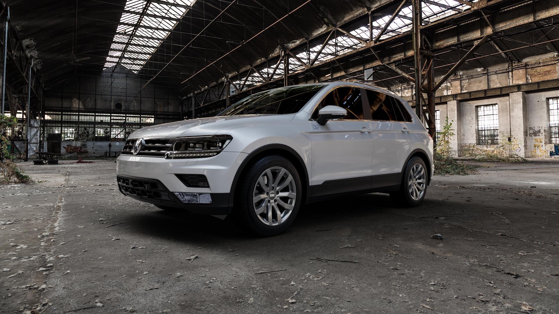 CMS C22 Titan Gloss Felge mit Reifen grau in 18Zoll Winterfelge Alufelge auf silbernem Volkswagen (VW) Tiguan II Typ 5N ⬇️ mit 15mm Tieferlegung ⬇️ Industriehalle 1 Camera_000