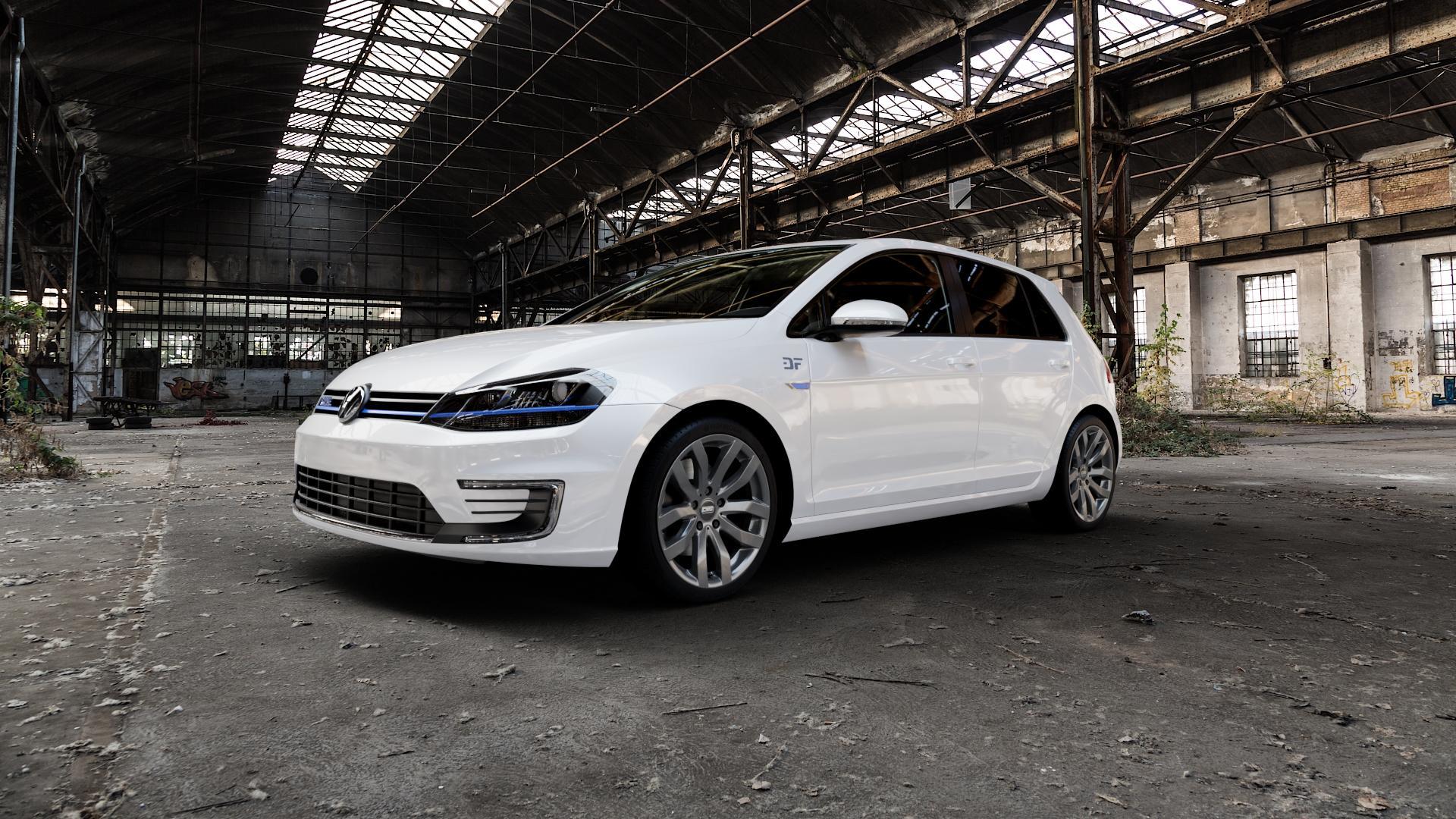 CMS C22 Titan Gloss Felge mit Reifen grau in 18Zoll Winterfelge Alufelge auf weissem Volkswagen (VW) Golf 7 1,4l GTE Hybrid 110kW (150 PS) Facelift 0,0l e-Golf 100kW (136 ⬇️ mit 15mm Tieferlegung ⬇️ Industriehalle 1 Camera_000