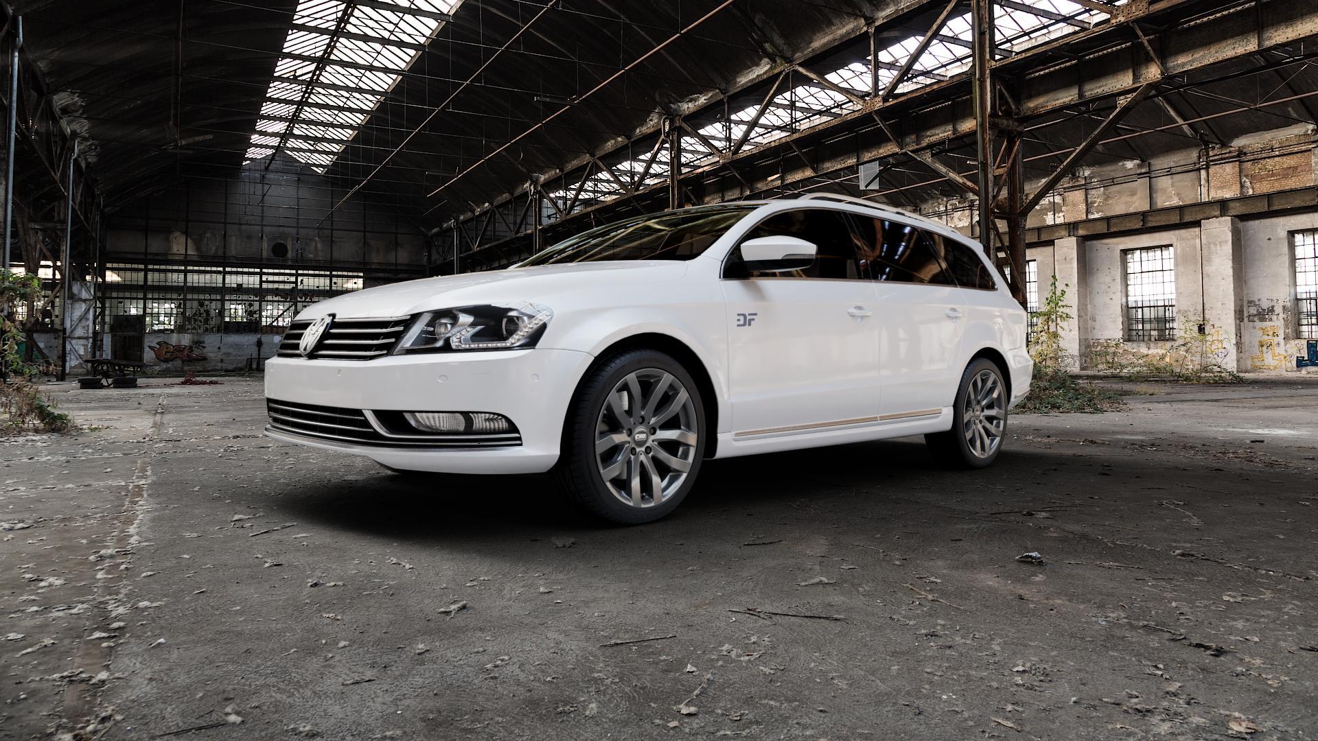 CMS C22 Titan Gloss Felge mit Reifen grau in 18Zoll Winterfelge Alufelge auf weissem Volkswagen (VW) Passat 3C/B7 Variant ⬇️ mit 15mm Tieferlegung ⬇️ Industriehalle 1 Camera_000
