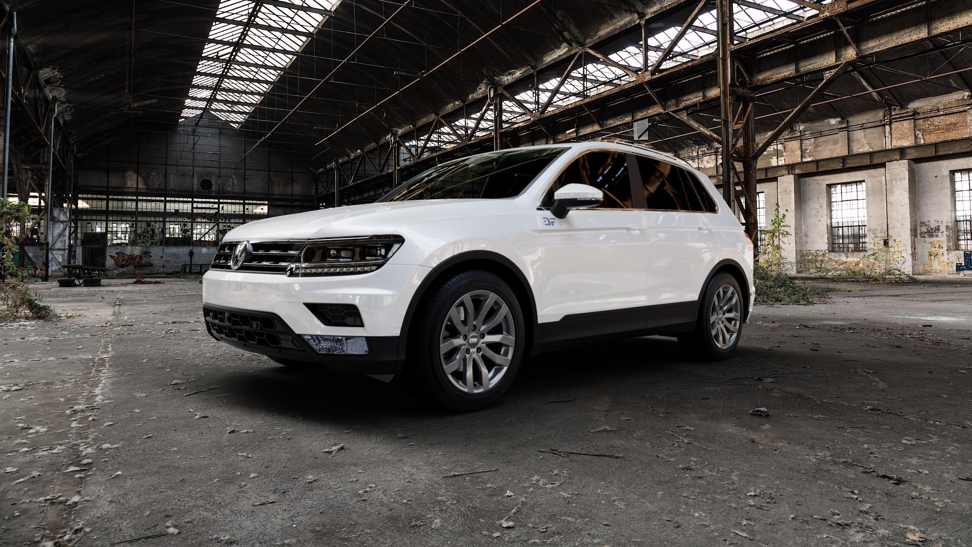 CMS C22 Titan Gloss Felge mit Reifen grau in 18Zoll Winterfelge Alufelge auf weissem Volkswagen (VW) Tiguan II Typ 5N ⬇️ mit 15mm Tieferlegung ⬇️ Industriehalle 1 Camera_000