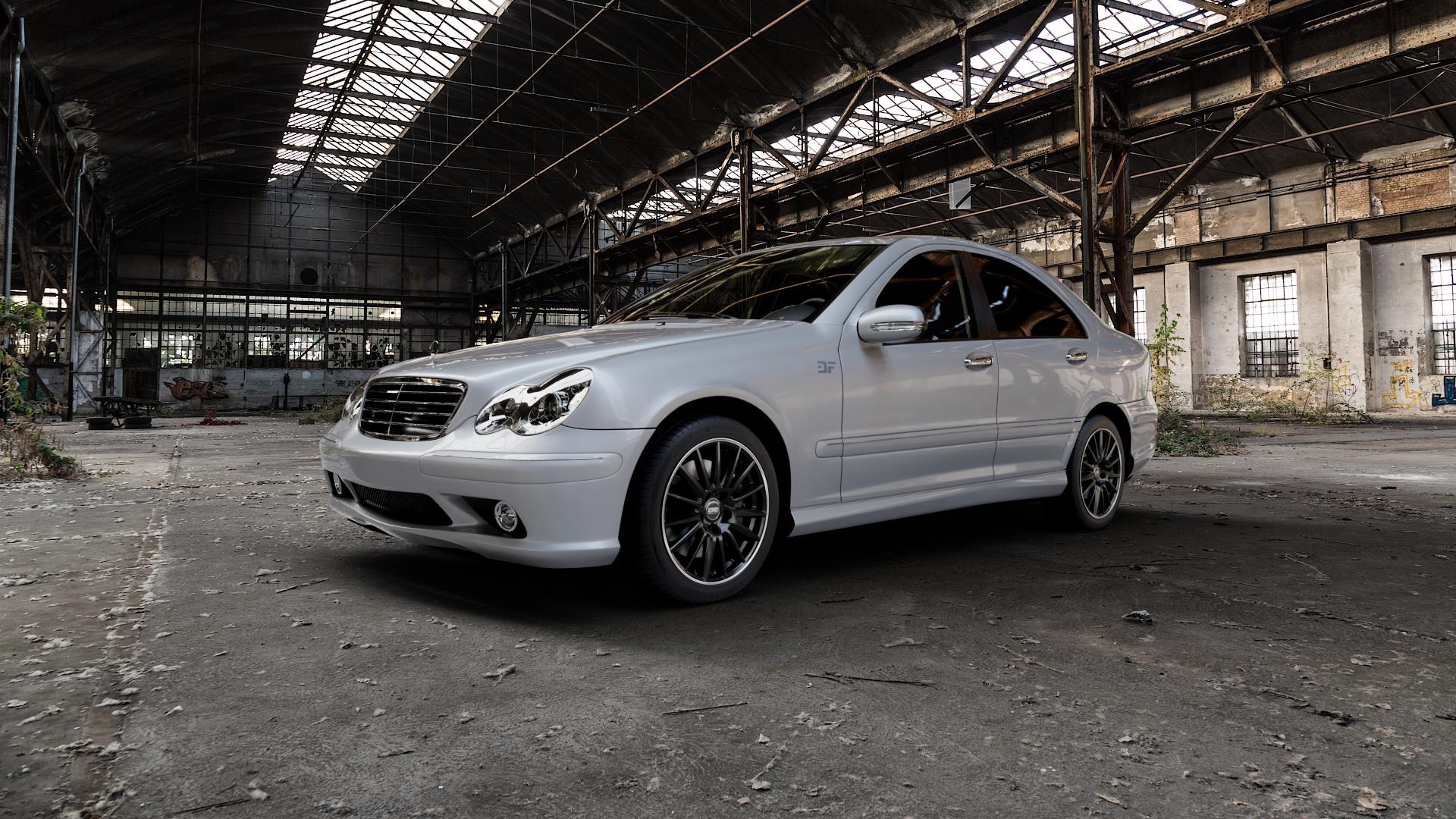 CMS C23 Diamond Rim Black Felge mit Reifen grau schwarz in 17Zoll Winterfelge Alufelge auf silbernem Mercedes C-Klasse Typ W203 Limousine S203 Kombi ⬇️ mit 15mm Tieferlegung ⬇️ Industriehalle 1 Camera_000