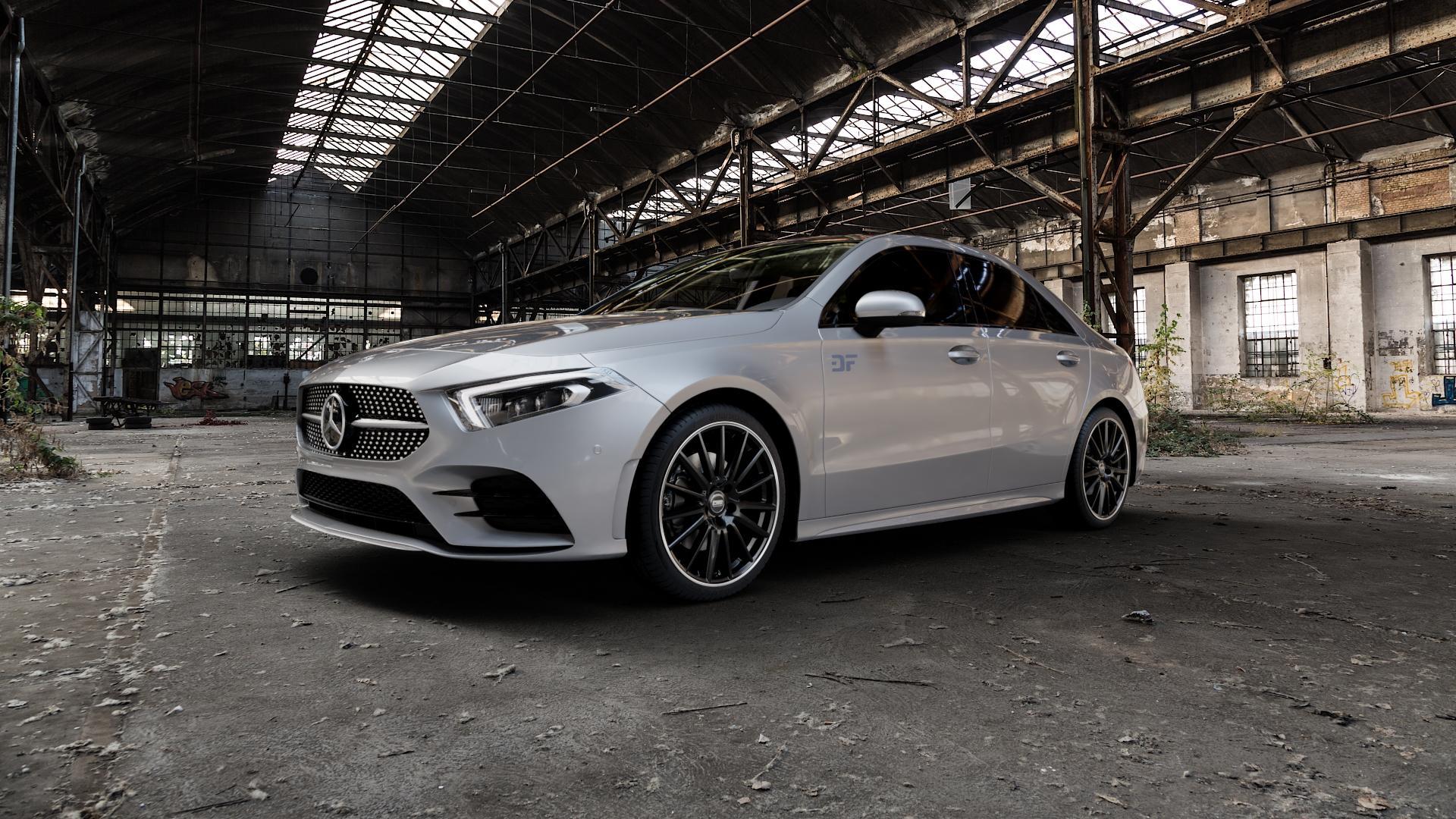 CMS C23 Diamond Rim Black Felge mit Reifen grau schwarz in 19Zoll Winterfelge Alufelge auf silbernem Mercedes A-Klasse IV Typ 177 (F2A) Limousine ⬇️ mit 15mm Tieferlegung ⬇️ Industriehalle 1 Camera_000