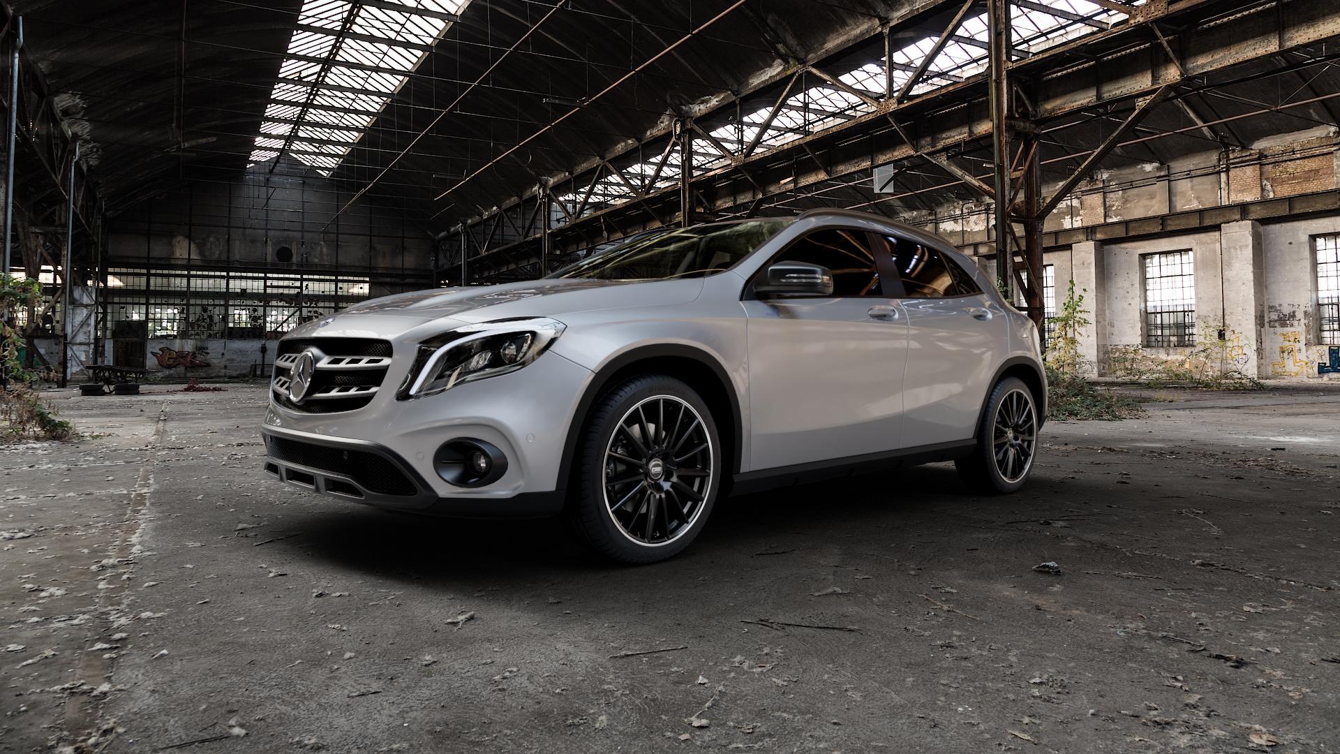 CMS C23 Diamond Rim Black Felge mit Reifen grau schwarz in 19Zoll Winterfelge Alufelge auf silbernem Mercedes GLA-Klasse Typ X156 Facelift ⬇️ mit 15mm Tieferlegung ⬇️ Industriehalle 1 Camera_000