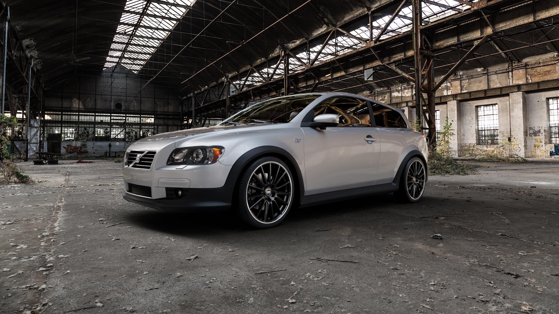 CMS C23 Diamond Rim Black Felge mit Reifen grau schwarz in 19Zoll Winterfelge Alufelge auf silbernem Volvo C30 ⬇️ mit 15mm Tieferlegung ⬇️ Industriehalle 1 Camera_000