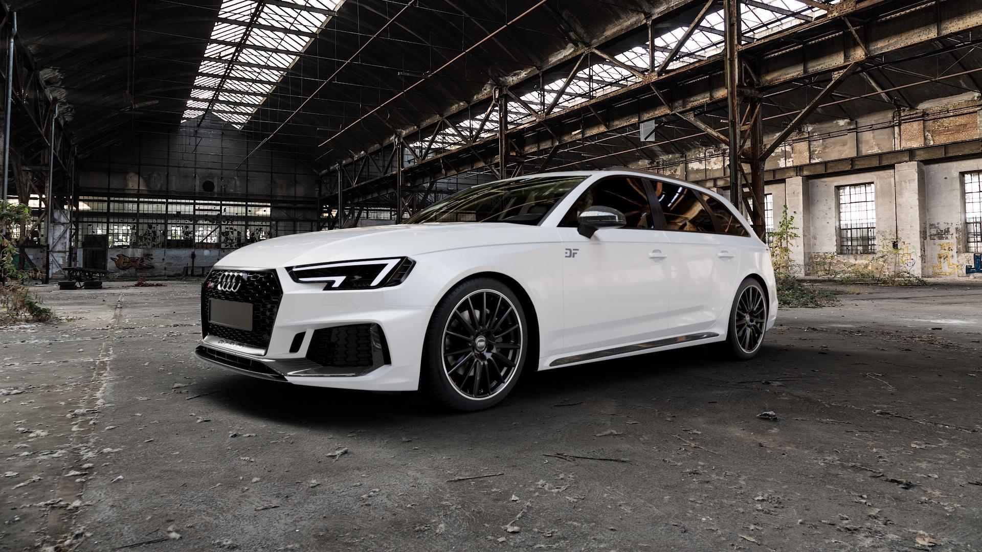 CMS C23 Diamond Rim Black Felge mit Reifen grau schwarz in 19Zoll Winterfelge Alufelge auf weissem Audi A4 Typ B9 (Avant) 2,9l RS4 TFSI quattro 331kW (450 PS) ⬇️ mit 15mm Tieferlegung ⬇️ Industriehalle 1 Camera_000