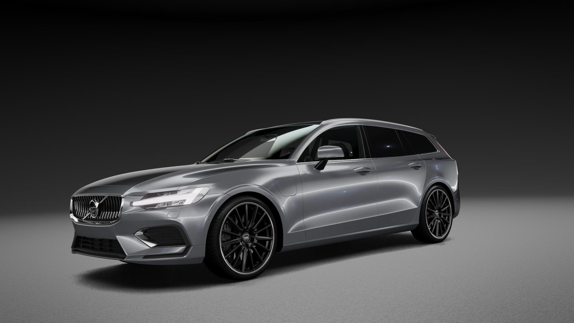 CMS C23 Diamond Rim Black Felge mit Reifen grau schwarz in 20Zoll Winterfelge Alufelge auf silbernem Volvo V60 Typ Z ⬇️ mit 15mm Tieferlegung ⬇️ Neutral_mid_max5300mm Frontansicht_1