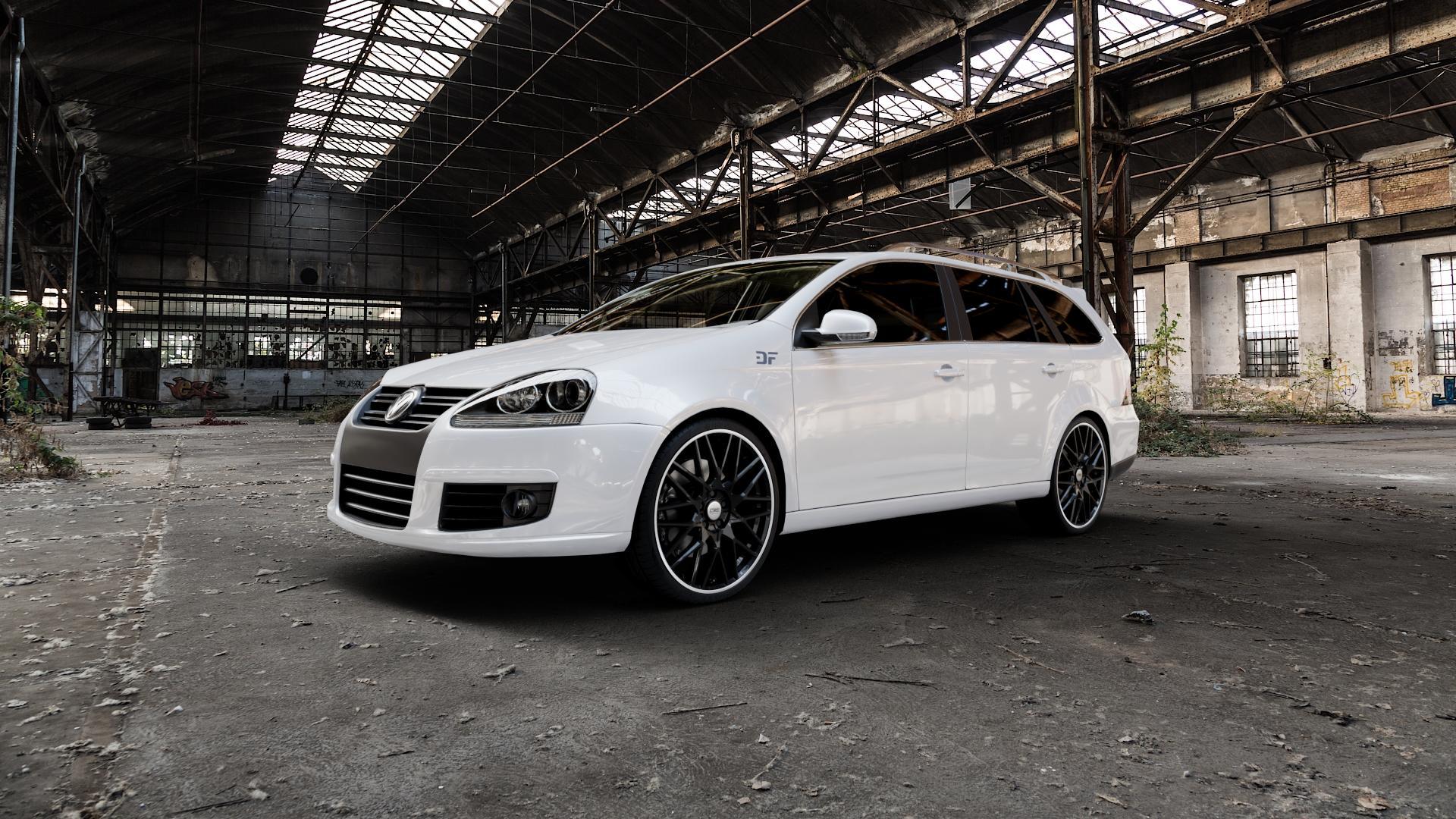 CMS C25 Diamond Rim Black Felge mit Reifen grau schwarz in 19Zoll Winterfelge Alufelge auf weissem Volkswagen (VW) Golf 5 Variant ⬇️ mit 15mm Tieferlegung ⬇️ Industriehalle 1 Camera_000