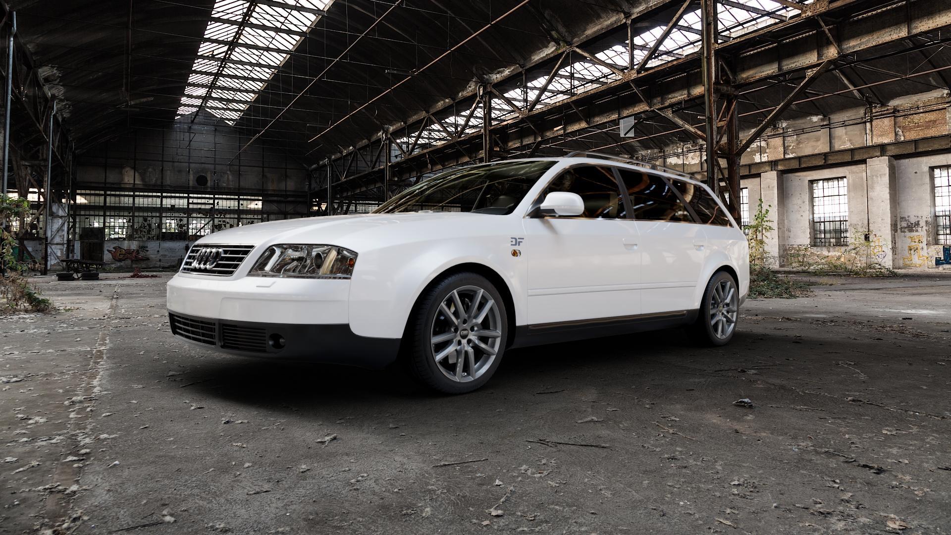 CMS C27 Titan Gloss Felge mit Reifen grau in 17Zoll Winterfelge Alufelge auf weissem Audi A6 Typ 4B/C5 (Avant) ⬇️ mit 15mm Tieferlegung ⬇️ Industriehalle 1 Camera_000