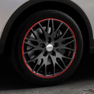 CMS C8 Black Red Gloss Felge mit Reifen schwarz rot farbige Outline mehrfarbig in 17Zoll Winterfelge Alufelge auf silbernem Seat Arona Typ KJ ⬇️ mit 15mm Tieferlegung ⬇️ Industriehalle 1 Thumbnail