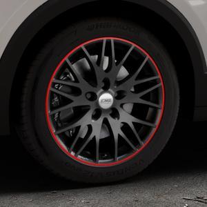 CMS C8 Black Red Gloss Felge mit Reifen schwarz rot farbige Outline mehrfarbig in 17Zoll Winterfelge Alufelge auf silbernem Volkswagen (VW) T-Cross ⬇️ mit 15mm Tieferlegung ⬇️ Industriehalle 1 Thumbnail