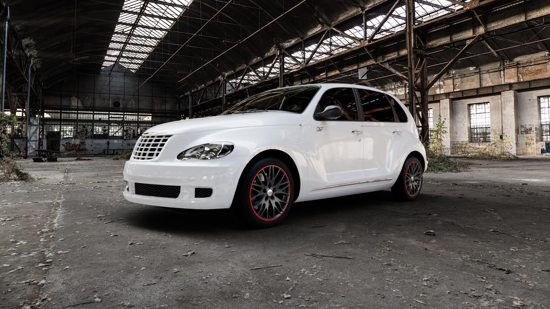 CMS C8 Black Red Gloss Felge mit Reifen schwarz rot farbige Outline mehrfarbig in 17Zoll Winterfelge Alufelge auf weissem Chrysler PT Cruiser Cabriolet ⬇️ mit 15mm Tieferlegung ⬇️ Industriehalle 1 Camera_000