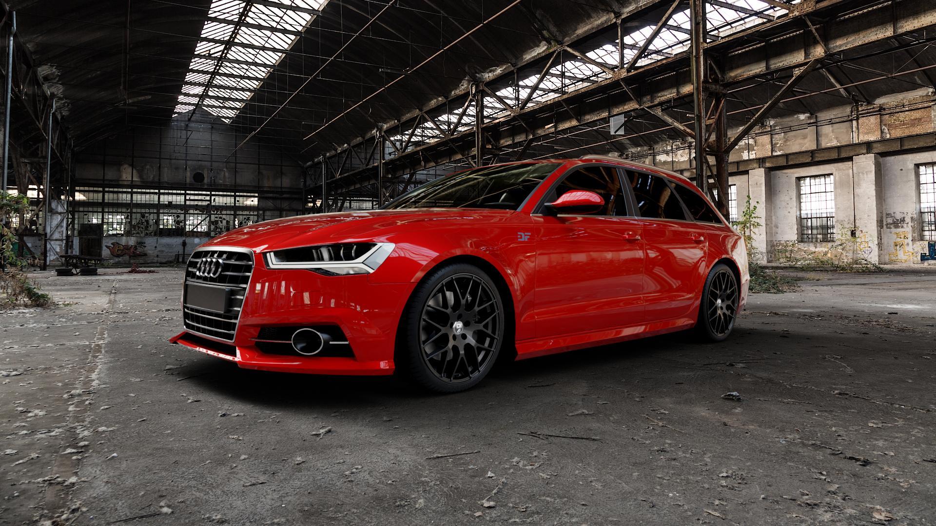 Damina Performance DM01 MATT BLACK Felge mit Reifen schwarz in 20Zoll Winterfelge Alufelge auf rotem Audi A6 Typ 4G/C7 (Avant) Facelift ⬇️ mit 15mm Tieferlegung ⬇️ Industriehalle 1 Camera_000