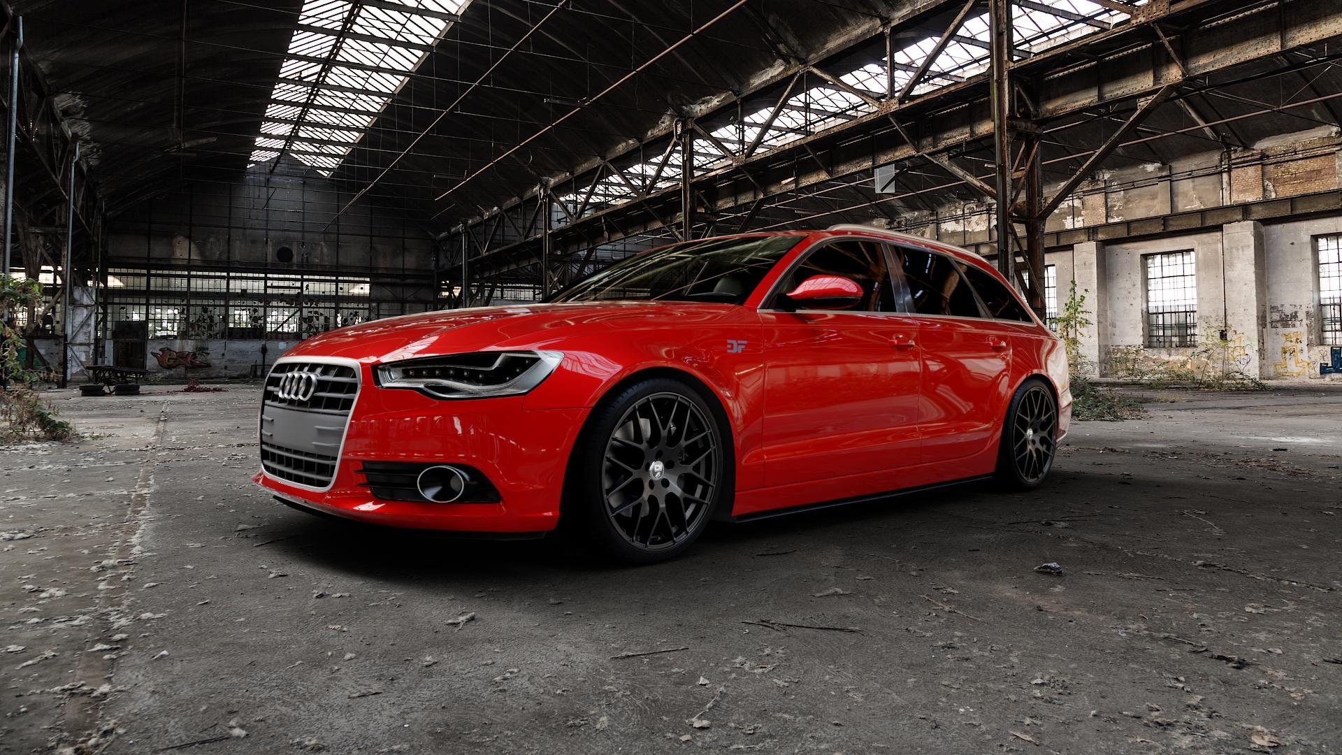 Damina Performance DM01 MATT BLACK Felge mit Reifen schwarz in 20Zoll Winterfelge Alufelge auf rotem Audi A6 Typ 4G/C7 (Avant) ⬇️ mit 15mm Tieferlegung ⬇️ Industriehalle 1 Camera_000