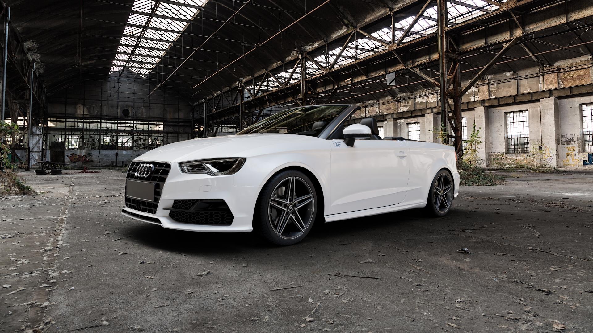 Damina Performance DM04 Black Polished Felge mit Reifen schwarz mehrfarbig in 18Zoll Alufelge auf weissem Audi A3 Typ 8V (Cabriolet) ⬇️ mit 15mm Tieferlegung ⬇️ Industriehalle 1 Camera_000