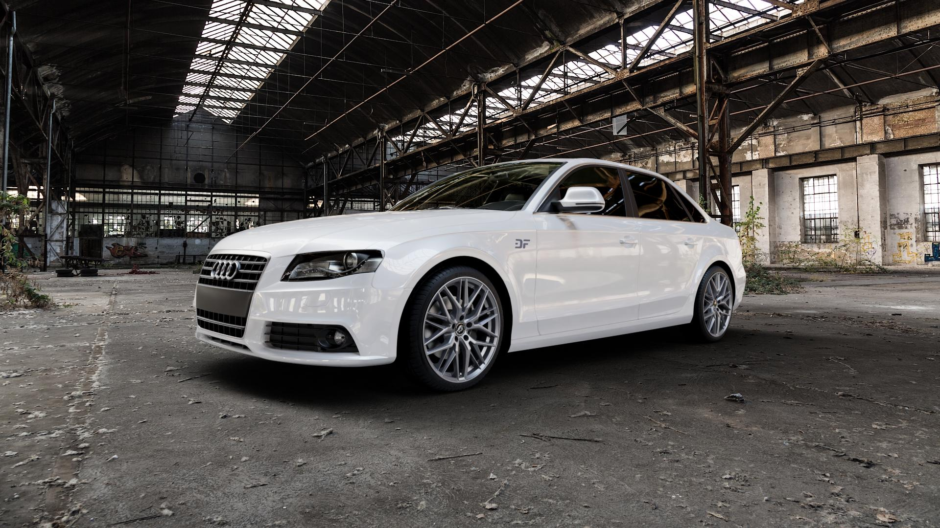 Damina Performance DM08 Anthrazit Felge mit Reifen grau in 19Zoll Winterfelge Alufelge auf weissem Audi A4 Typ 8K2/B8 (Limousine) ⬇️ mit 15mm Tieferlegung ⬇️ Industriehalle 1 Camera_000