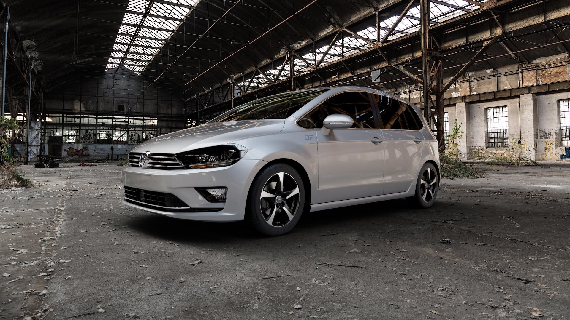 DBV 5SP 001 schwarz glänzend, front poliert Felge mit Reifen mehrfarbig in 16Zoll Alufelge auf silbernem Volkswagen (VW) Golf 7 Sportsvan ⬇️ mit 15mm Tieferlegung ⬇️ Industriehalle 1 Camera_000