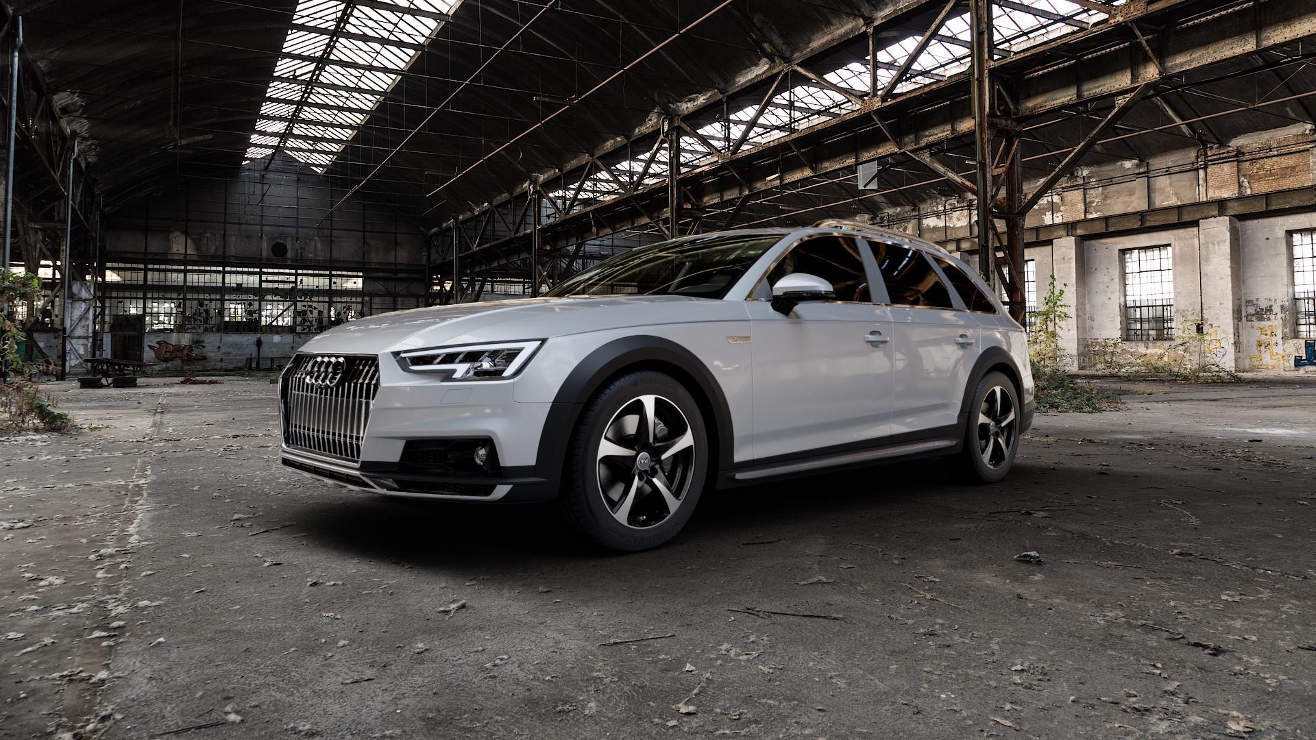 DBV 5SP 001 schwarz glänzend, front poliert Felge mit Reifen mehrfarbig in 17Zoll Alufelge auf silbernem Audi A4 Typ B9 Allroad ⬇️ mit 15mm Tieferlegung ⬇️ Industriehalle 1 Camera_000