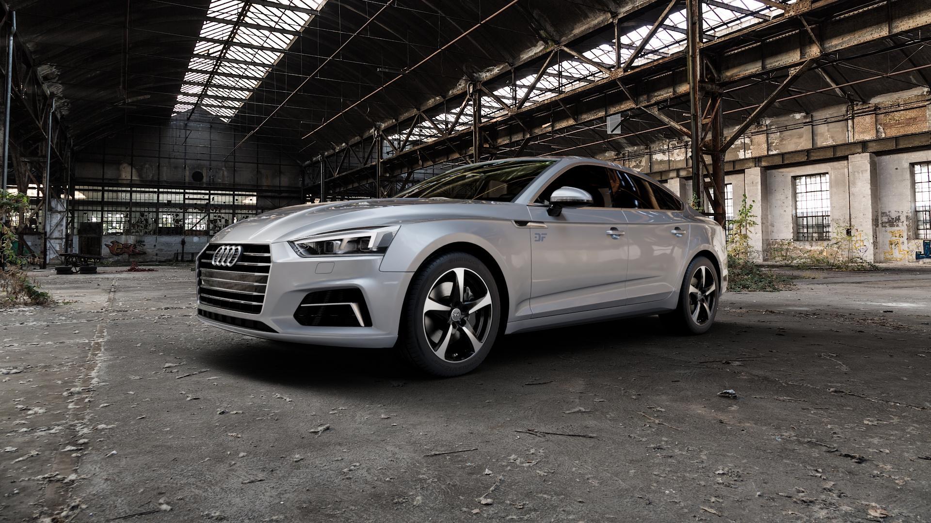 DBV 5SP 001 schwarz glänzend, front poliert Felge mit Reifen mehrfarbig in 17Zoll Alufelge auf silbernem Audi A5 Typ B9 (Sportback) 2,0l TDI 140kW (190 PS) quattro TFSI 185kW (252 3,0l 160kW (218 200kW (272 1,4l 110kW (150 183kW (249 g-tron 125kW (170 Mild-Hybrid 100kW (136 210kW (286 45 180kW (245 35 40 50 170kW (231 120kW (163 30 ⬇️ mit 15mm