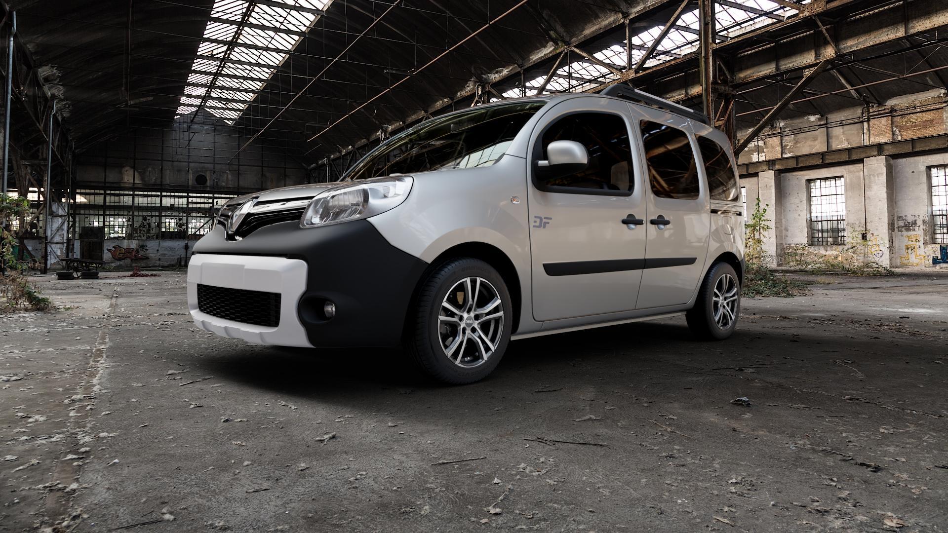 DBV Andorra schwarz glänzend, front poliert Felge mit Reifen silber mehrfarbig in 16Zoll Alufelge auf silbernem Renault Kangoo II Typ W Rapid FW BeBop Facelift (13->) Maxi ⬇️ mit 15mm Tieferlegung ⬇️ Industriehalle 1 Camera_000