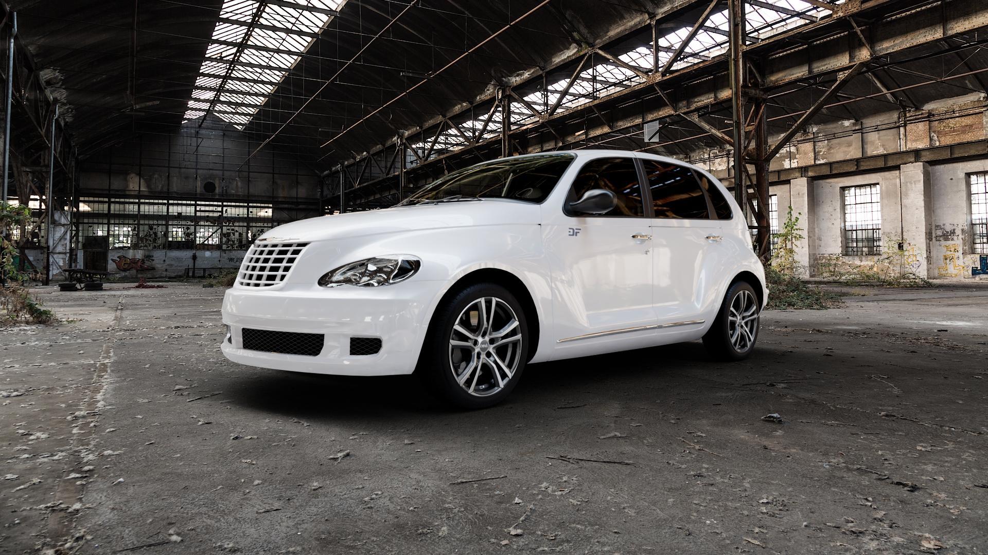 DBV Andorra schwarz glänzend, front poliert Felge mit Reifen silber mehrfarbig in 17Zoll Alufelge auf weissem Chrysler PT Cruiser Cabriolet ⬇️ mit 15mm Tieferlegung ⬇️ Industriehalle 1 Camera_000