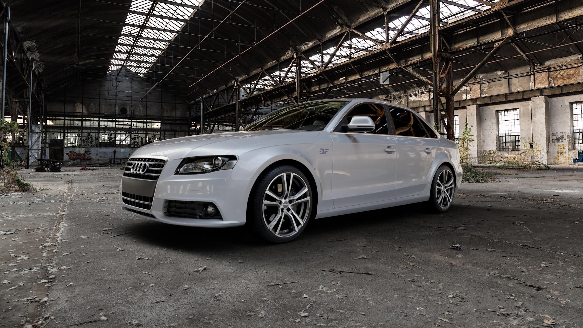 DBV Andorra schwarz glänzend, front poliert Felge mit Reifen silber mehrfarbig in 19Zoll Alufelge auf silbernem Audi A4 Typ 8K2/B8 (Limousine) ⬇️ mit 15mm Tieferlegung ⬇️ Industriehalle 1 Camera_000