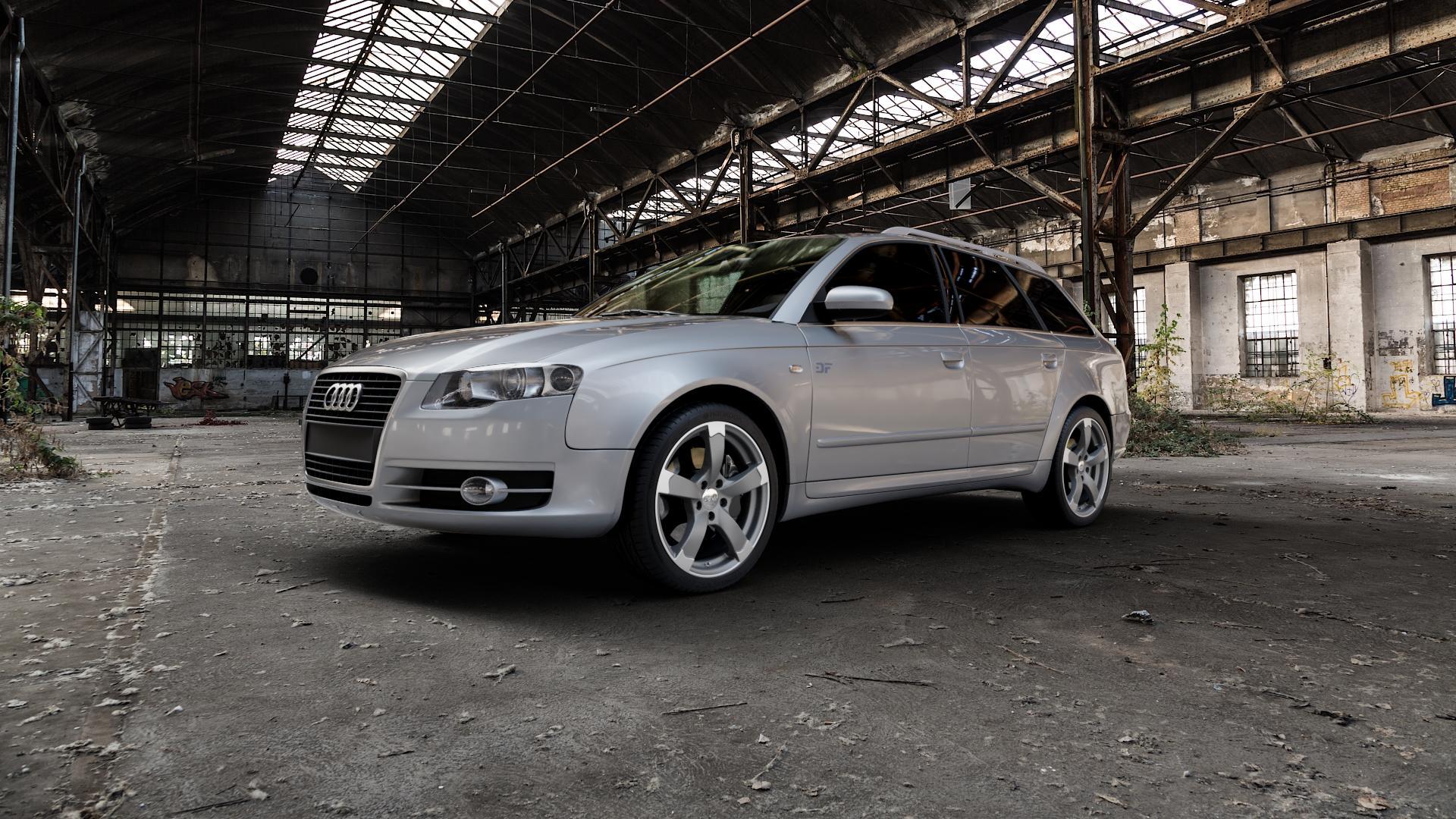 DBV Torino II anthrazit matt, poliert Felge mit Reifen grau silber mehrfarbig in 18Zoll Alufelge auf silbernem Audi A4 Typ 8ED/B7 (Avant) ⬇️ mit 15mm Tieferlegung ⬇️ Industriehalle 1 Camera_000