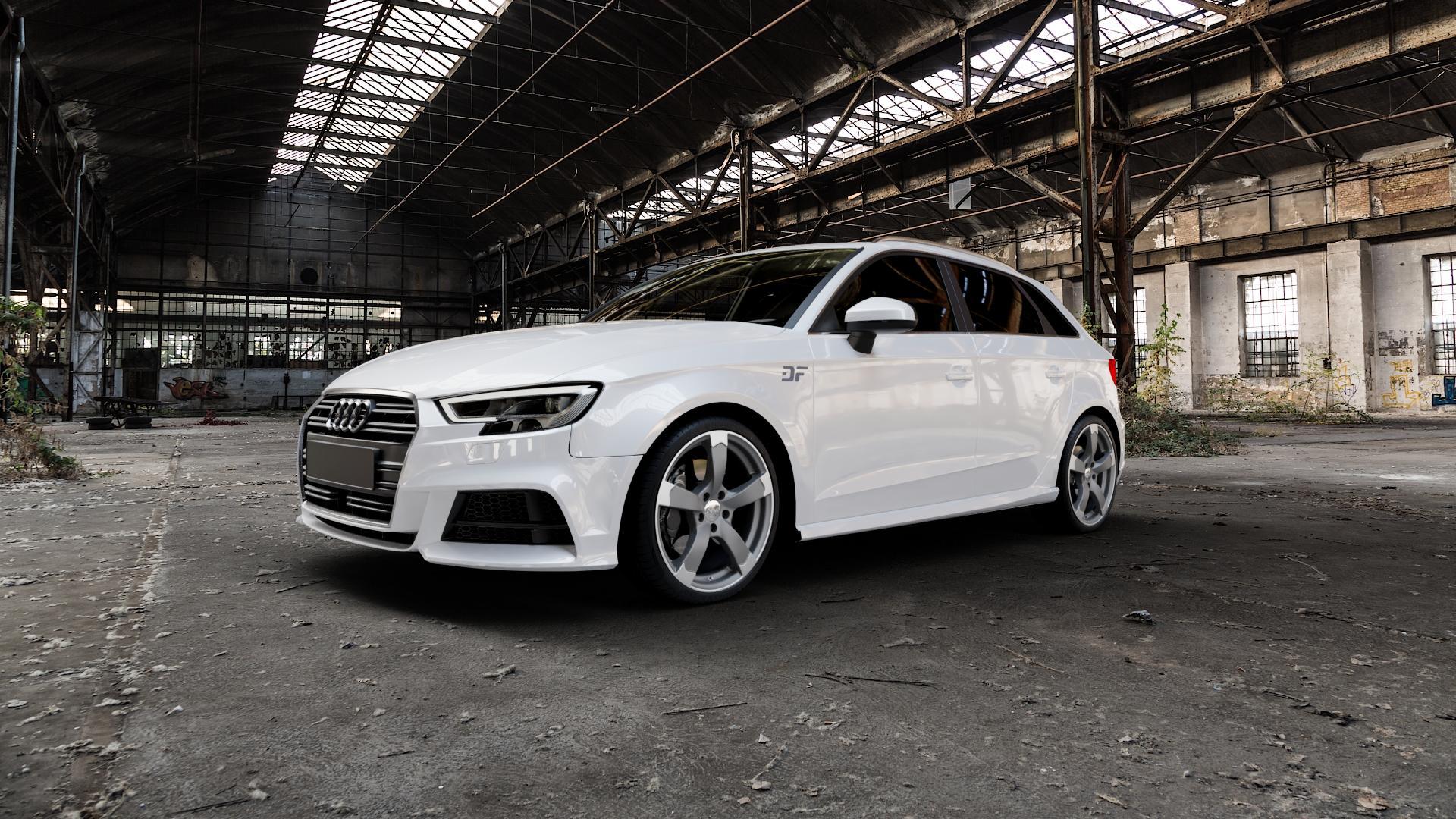 DBV Torino II anthrazit matt, poliert Felge mit Reifen grau silber mehrfarbig in 19Zoll Alufelge auf weissem Audi A3 Typ 8V (Sportback) Facelift ⬇️ mit 15mm Tieferlegung ⬇️ Industriehalle 1 Camera_000
