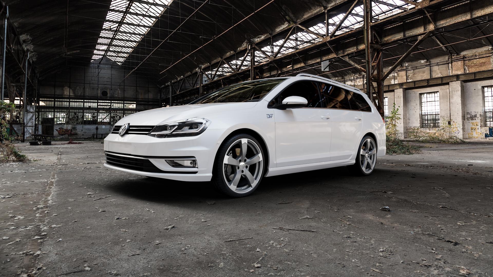 DBV Torino II anthrazit matt, poliert Felge mit Reifen grau silber mehrfarbig in 19Zoll Alufelge auf weissem Volkswagen (VW) Golf 7 Variant Facelift ⬇️ mit 15mm Tieferlegung ⬇️ Industriehalle 1 Camera_000