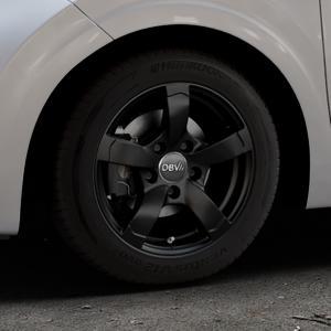 DBV Torino II schwarz matt Felge mit Reifen in 14Zoll Winterfelge Alufelge auf silbernem Kia Picanto III Typ JA ⬇️ mit 15mm Tieferlegung ⬇️ Industriehalle 1 Thumbnail
