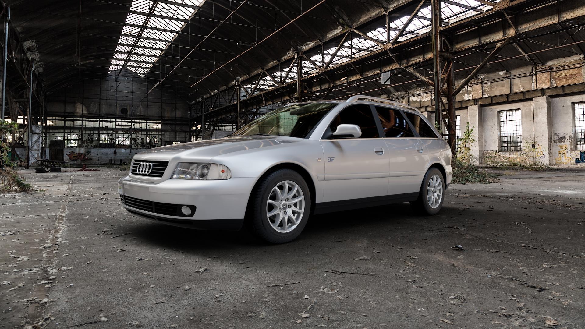 DBV Tropez shadow silber Felge mit Reifen grau in 15Zoll Winterfelge Alufelge auf silbernem Audi A4 Typ 8D5/B5 (Avant) ⬇️ mit 15mm Tieferlegung ⬇️ Industriehalle 1 Camera_000