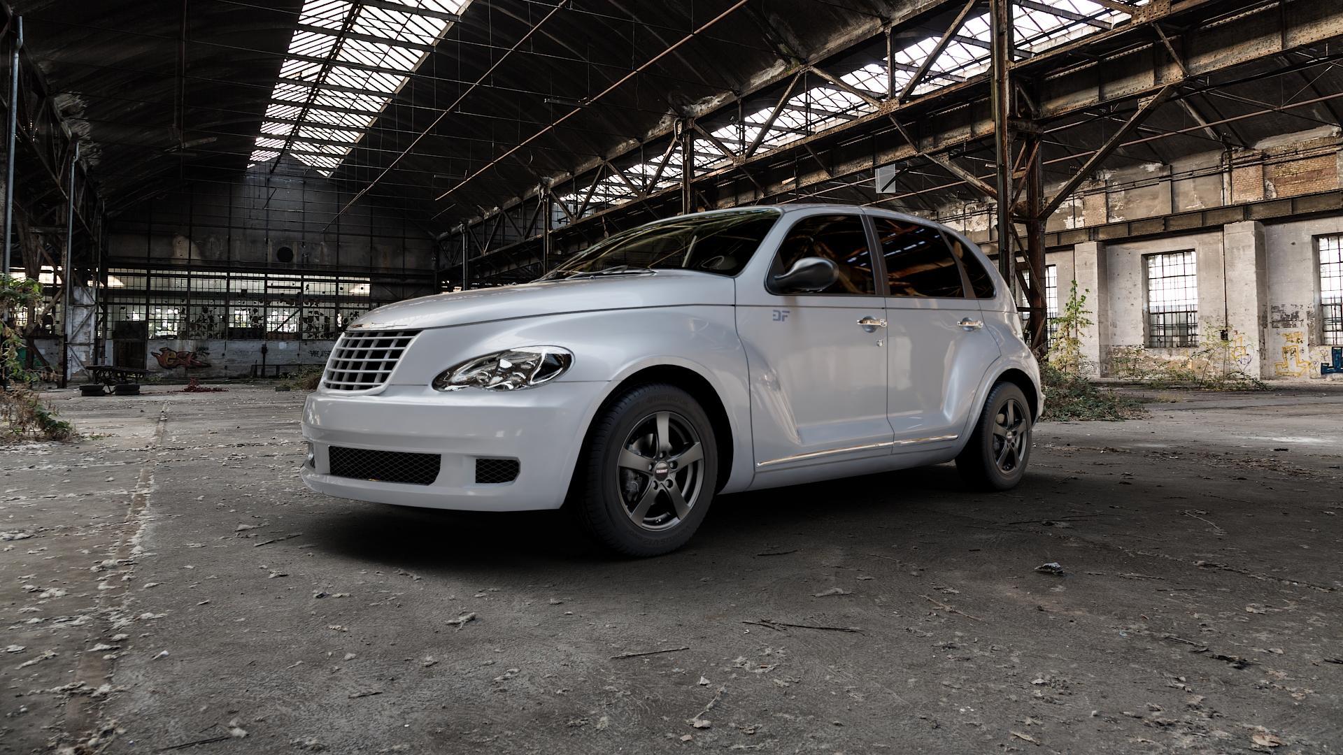 DEZENT RE BLACK MATT Felge mit Reifen schwarz in 15Zoll Winterfelge Alufelge auf silbernem Chrysler PT Cruiser Cabriolet ⬇️ mit 15mm Tieferlegung ⬇️ Industriehalle 1 Camera_000