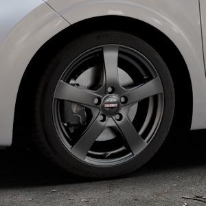 DEZENT RE Black matt Felge mit Reifen schwarz in 16Zoll Winterfelge Alufelge auf silbernem Kia Picanto III Typ JA ⬇️ mit 15mm Tieferlegung ⬇️ Industriehalle 1 Thumbnail