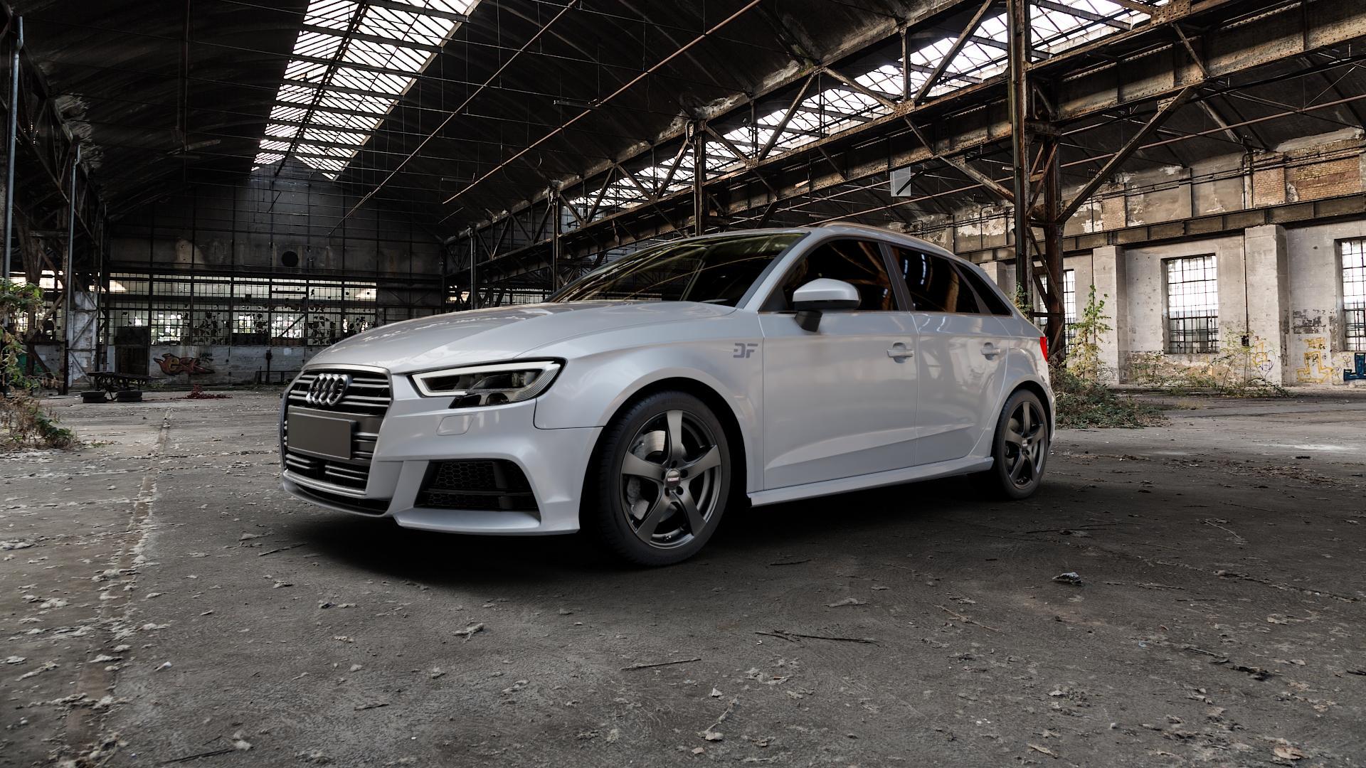 DEZENT RE BLACK MATT Felge mit Reifen schwarz in 17Zoll Winterfelge Alufelge auf silbernem Audi A3 Typ 8V (Sportback) Facelift ⬇️ mit 15mm Tieferlegung ⬇️ Industriehalle 1 Camera_000