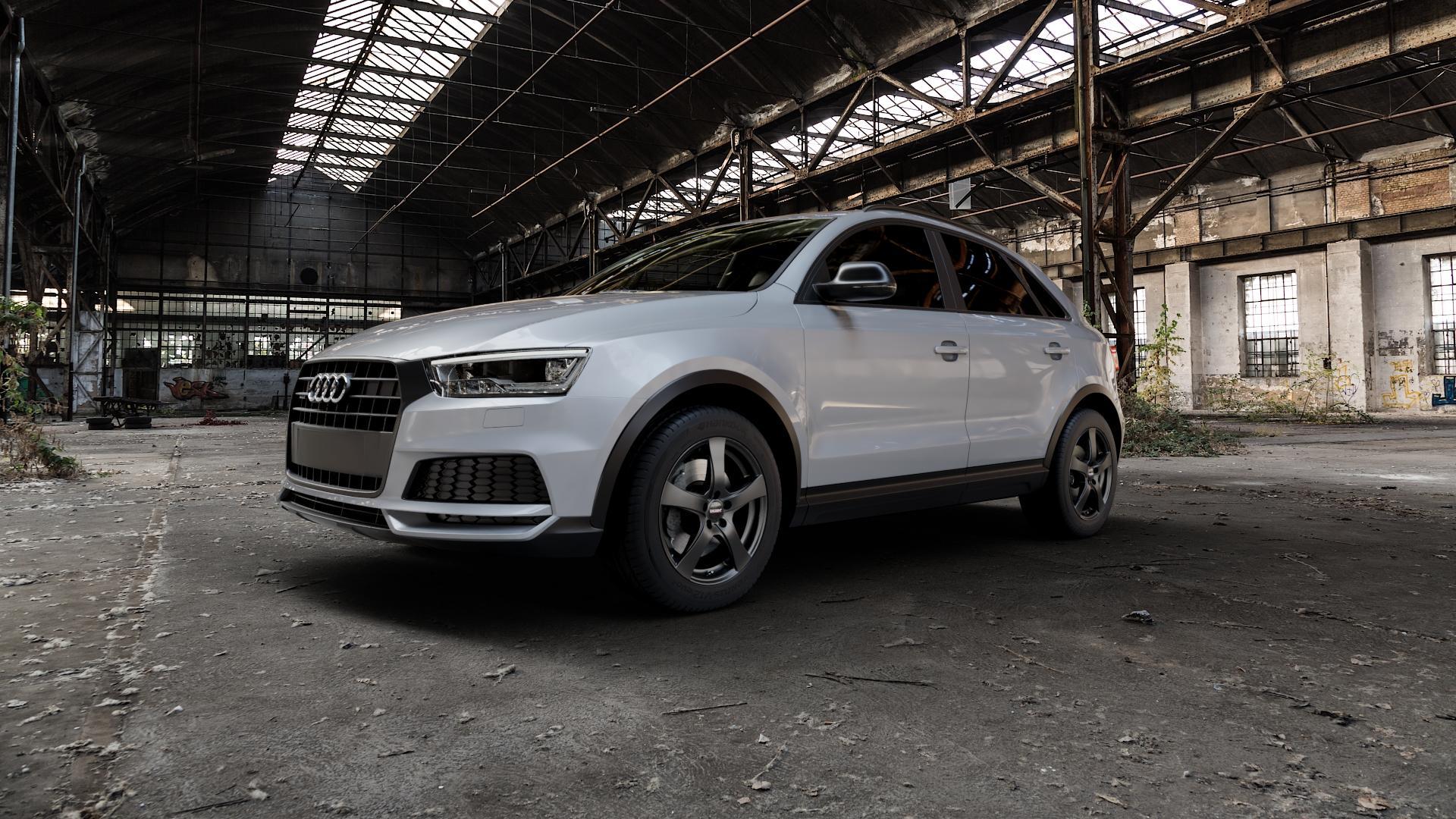 DEZENT RE Black matt Felge mit Reifen schwarz in 17Zoll Winterfelge Alufelge auf silbernem Audi Q3 I Typ 8U Facelift ⬇️ mit 15mm Tieferlegung ⬇️ Industriehalle 1 Camera_000