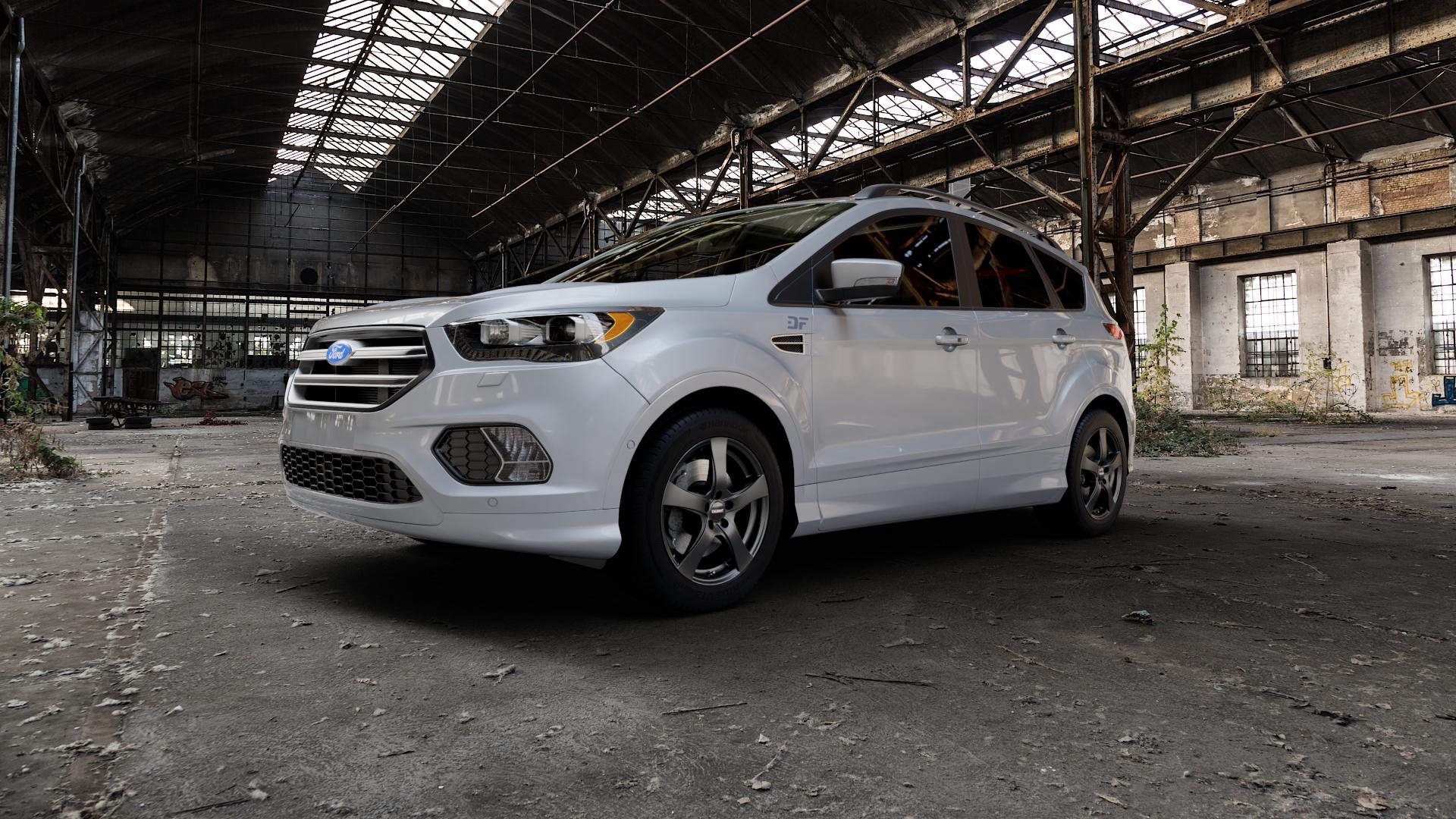 DEZENT RE Black matt Felge mit Reifen schwarz in 17Zoll Winterfelge Alufelge auf silbernem Ford Kuga II Facelift (15->) (17->) ⬇️ mit 15mm Tieferlegung ⬇️ Industriehalle 1 Camera_000