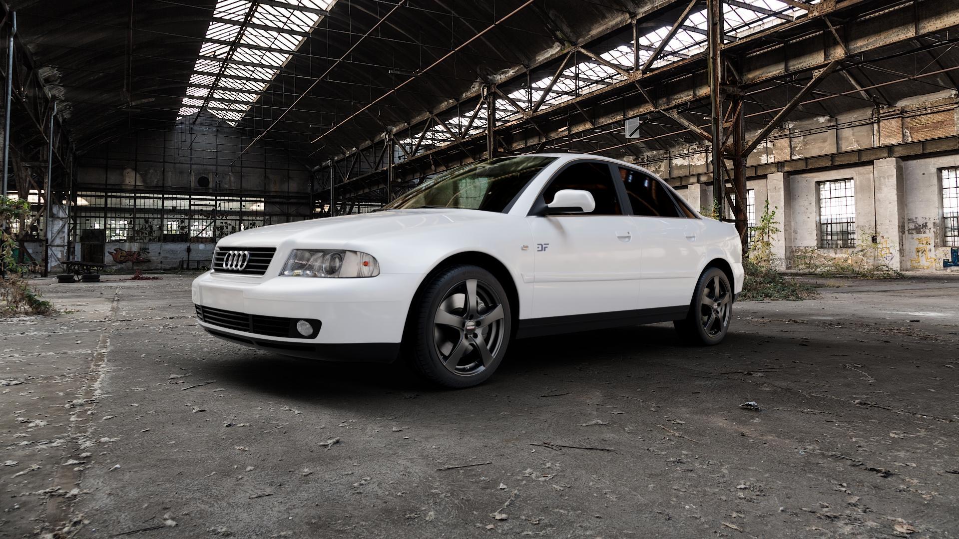 DEZENT RE BLACK MATT Felge mit Reifen schwarz in 17Zoll Winterfelge Alufelge auf weissem Audi A4 Typ 8D2/B5 (Limousine) ⬇️ mit 15mm Tieferlegung ⬇️ Industriehalle 1 Camera_000