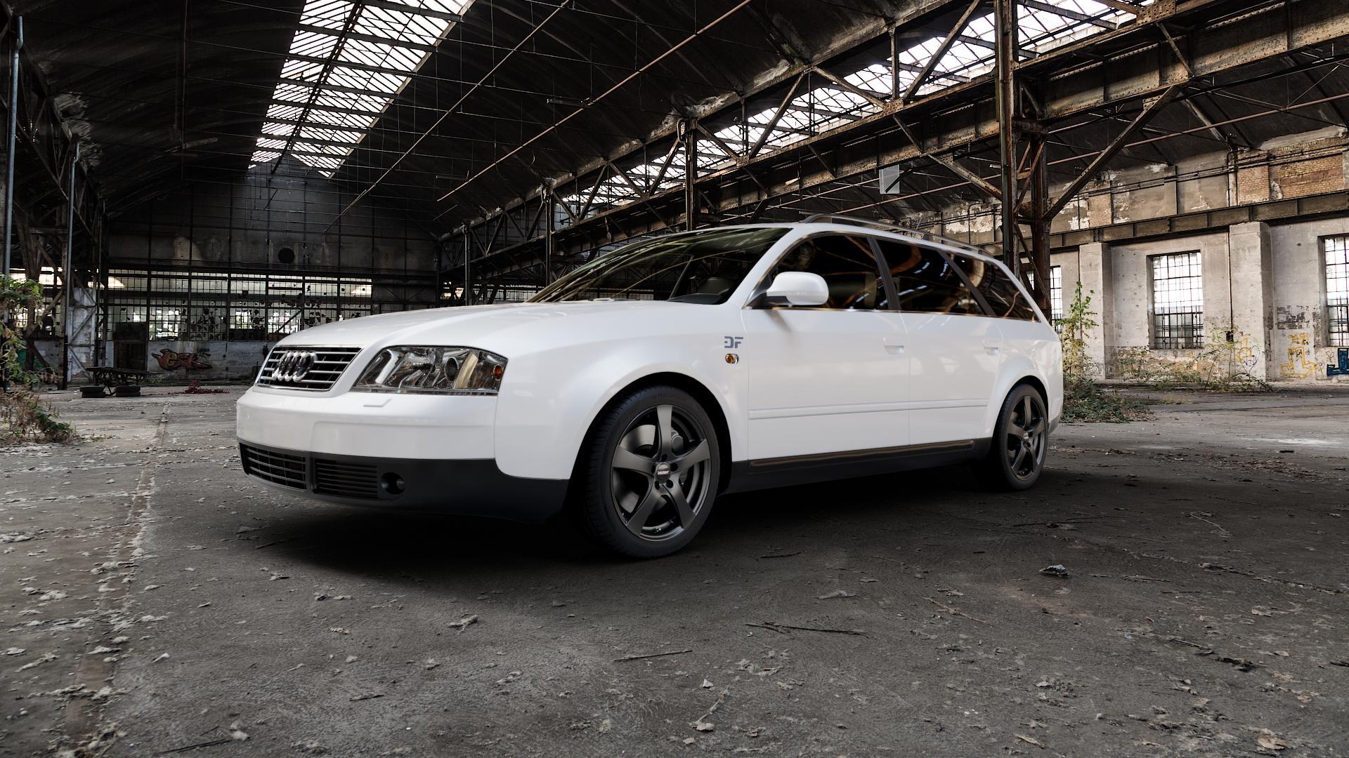 DEZENT RE BLACK MATT Felge mit Reifen schwarz in 17Zoll Winterfelge Alufelge auf weissem Audi A6 Typ 4B/C5 (Avant) ⬇️ mit 15mm Tieferlegung ⬇️ Industriehalle 1 Camera_000