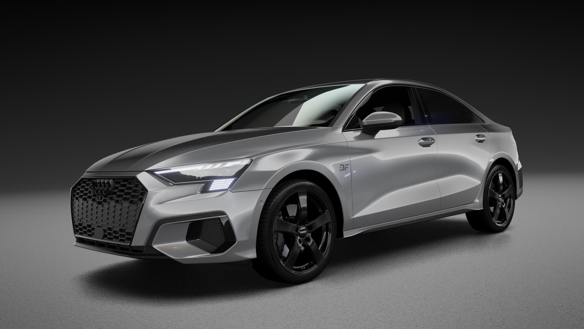 DEZENT RE BLACK MATT Felge mit Reifen schwarz in 18Zoll Winterfelge Alufelge auf silbernem Audi A3 Typ GY (Limousine) ⬇️ mit 15mm Tieferlegung ⬇️ Neutral_near_max4650mm Frontansicht_1