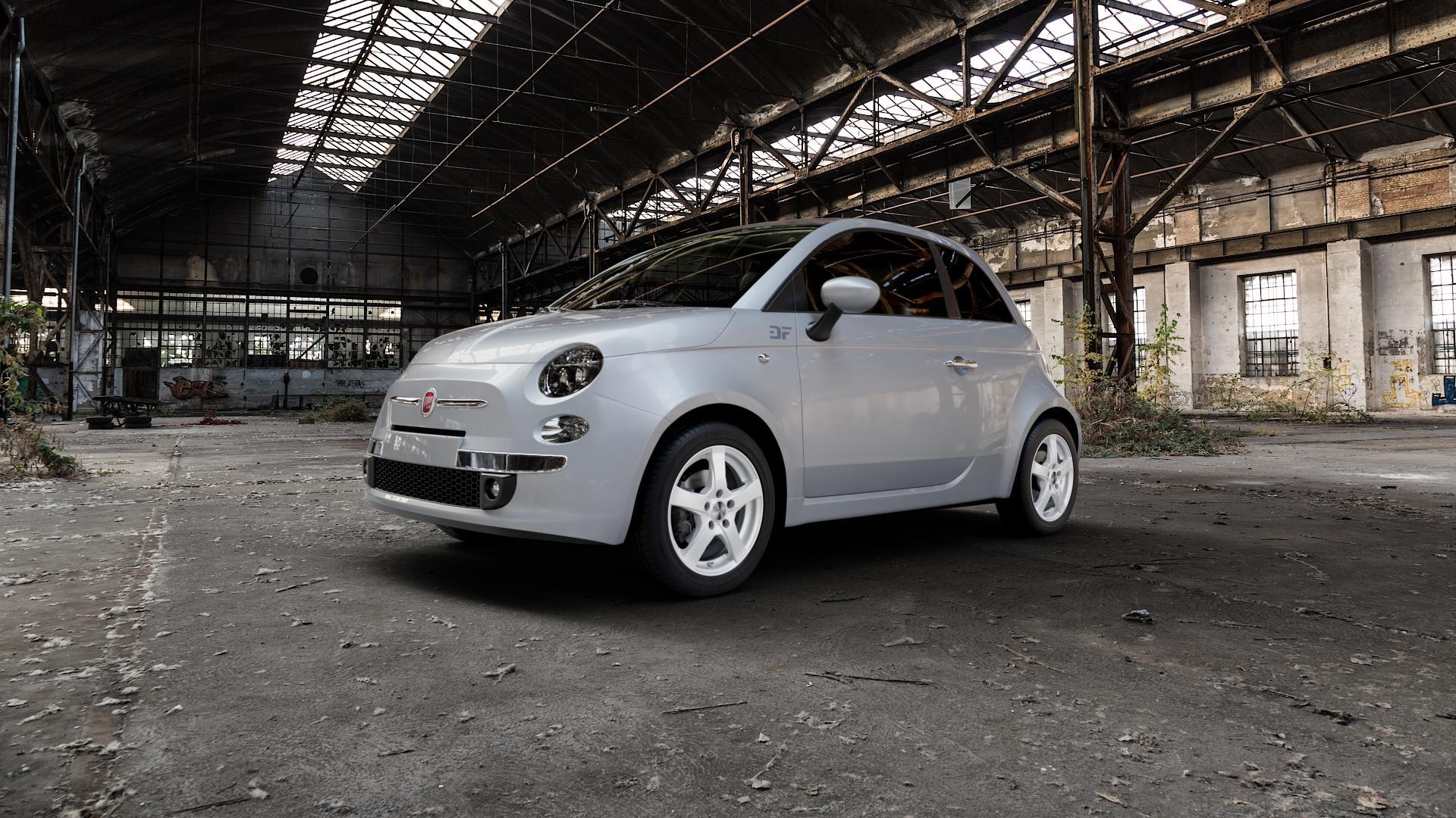 DEZENT RE Silver Felge mit Reifen silber in 15Zoll Winterfelge Alufelge auf silbernem Fiat 500 Typ 312 Cabrio Facelift ⬇️ mit 15mm Tieferlegung ⬇️ Industriehalle 1 Camera_000