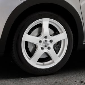 DEZENT RE Silver Felge mit Reifen silber in 16Zoll Winterfelge Alufelge auf silbernem Renault Twingo III Typ AH ⬇️ mit 15mm Tieferlegung ⬇️ Industriehalle 1 Thumbnail